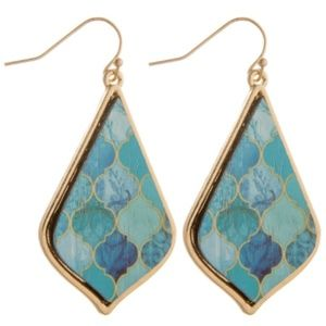 Chic Rustic Wooden Earrings, Turquoise/Mint
